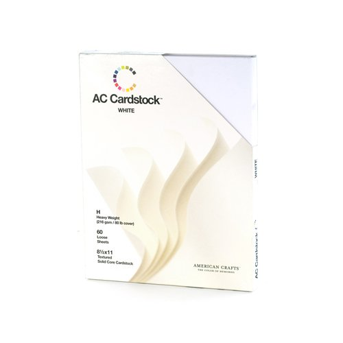 8.5 x 11-inch White AC Cardstock Pack by American Crafts | Includes 60 sheets of heavy weight, textured white cardstock -