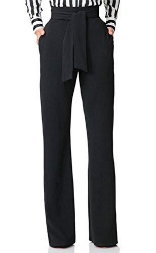 Famnbro Women Casual Straight High Waist Wide Leg Elegant Wear to Work Long Pants with Belt