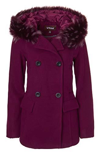 Crushed Violets - Sportoli Women's Winter Wool Look Double Breasted Pea Coat Jacket Fur Trim Hood - Crushed Violet (Size Large)