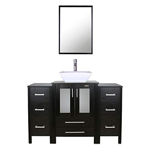 """eclife 48"""" Black Bathroom Vanity Sink Combo W/Black Side Cabinet Modern Stand Pedestal W/Square White Ceramic Vessel Sink, Chrome Bathroom Solid Brass Faucet & Pop Up Drain Combo, W/Mirror(2B11A07) ()"""