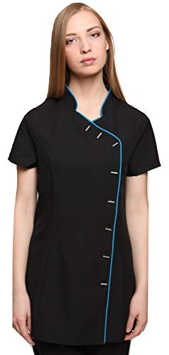 Mirabella Health and Beauty Clothing Women's Iris Massage Hairdressing Beauty Spa Tunic Uniform 10 Black with Teal Trim from Mirabella Health and Beauty Clothing