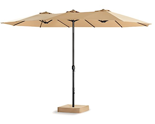 Patio Tree 15 Ft Double-Sided Outdoor Market Umbrella 12 Ribs, Crank System, 100% Polyester, Base Included (Beige) by PATIO TREE