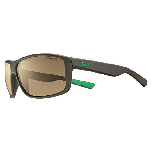 Nike Golf Premier 8.0 R Sunglasses, Matte Cargo Khaki/Spring Leaf Frame, Brown with Bronze Flash - Youth Sunglasses Nike