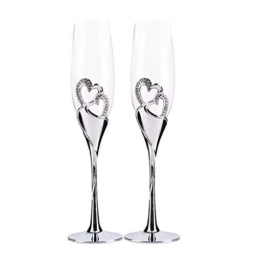 (Cleaky 2 Pack Champagne Flutes Wedding Accessories Sparkling True Love Glass Flutes Goblets for Wedding, Cocktail, Party, Gathering)