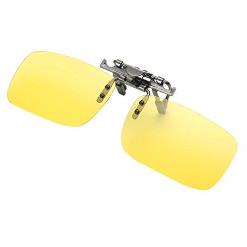 TOOPOOT Polarized Clip-on Flip up Metal Sunglasses Lenses for Prescription Eyewear - Lens On Sunglasses Yellow Clip