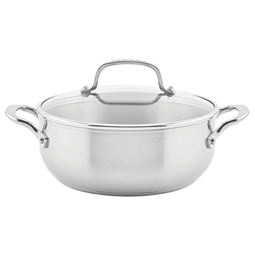 KitchenAid 3-Ply Base Brushed Stainless Steel Casserole Dish/Pan with Lid, 4 Quart