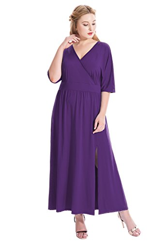 MF Women's Plus Size Sexy Surplice V Neck Ruched Empire Waist Maxi Evening Party Dress (1X Plus, -