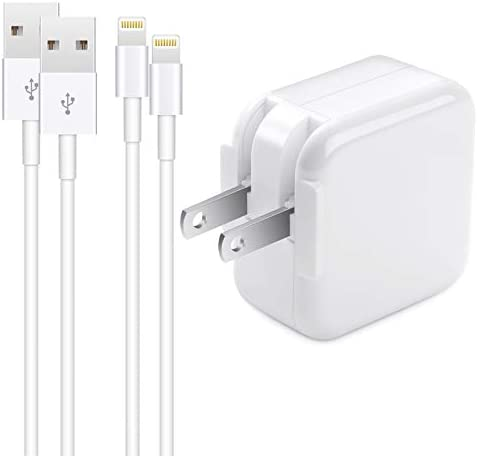 iPhone Charger iPad Charger,【Apple MFi Certified】2.4A 12W USB Wall Charger Foldable Portable Travel Plug with 2-Pack Lightning to USB Cable (6.6FT) Compatible with iPhone, iPad, iPod, Airpods and extra