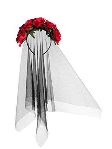 Zivyes Day of The Dead Headband Bride Veil Fancy Dress Costume Halloween Accessories Rose Flower Crown (A-Red)
