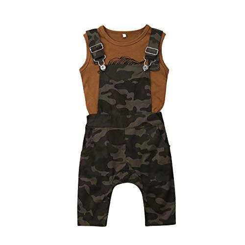 (Toddler Baby Boy Vest Skull Beard Shirt Top Camo Bib Overalls Suspender Pants Summer Outfits Clothes Set (3-4 Years,Brown Vest+camo Overalls))