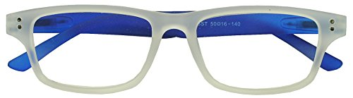 Sunglass Stop - Mens and Womens White and Blue Frost Optical RX Reading Glasses Strength Readers - Reading Sunglasses S Men