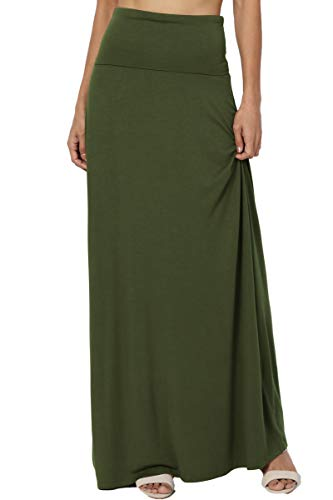 TheMogan Women's Casual Solid Draped Jersey Relaxed Long Maxi Skirt Army Green 1XL