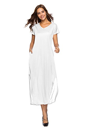 Women's Casual Loose Pocket Long Dress Short Sleeve Split Maxi Dresses White Medium