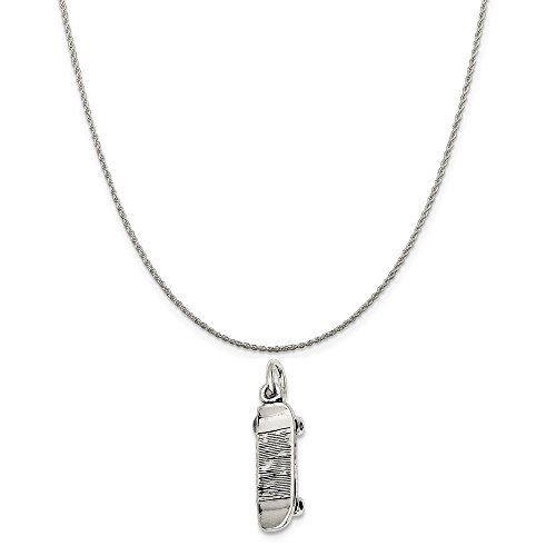 Mireval Sterling Silver Antiqued Skateboard Charm on a Sterling Silver Rope Chain Necklace, 20