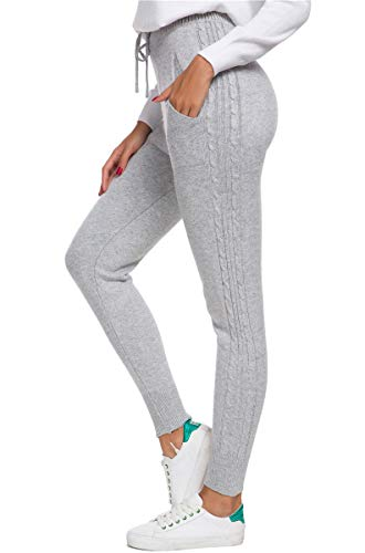 DAIMIDY Women's Cashmere Casual Knitted Jogger Pants, Gray, US M (8-10)