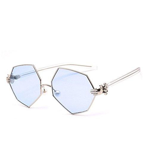 De Claro Artísticas De De Sol Palma Dorado Gafas Metal JUNHONGZHANG azul Irregulares Espejo De Mujer para Polígono Perla Marco De Gafas Sol Gafas qZxwg1pw