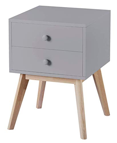 Grey Finish Nightstand Side End Table with Two Drawer 22.5H - Color: Grey Material: MDF/Hardwood, Solid Wood Legs Features Two Drawer for Storage with Solid Wood Legs - nightstands, bedroom-furniture, bedroom - 31QQlORZS7L -