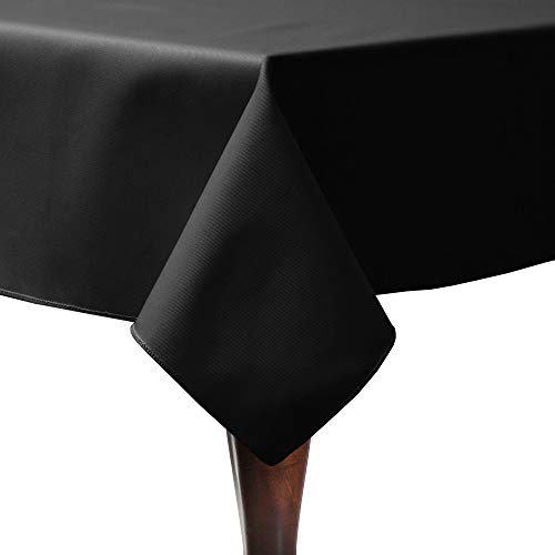 Ultimate Textile -10 Pack- Poly-Cotton Twill 60 x 90-Inch Rectangular Tablecloth, Black ()