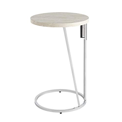 - Southern Enterprises AMZ5822CO Mino end Table, Silver, Faux Travertine