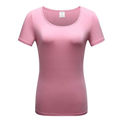 - OThread & Co. Women's Short Sleeve T-Shirt Scoop Neck Basic Layer Spandex Shirts (Small, Sherbet)