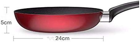 Cvghnfk Casserole Induction Poêle Anti-adhésive |24cm / 9.4inches |pour la Cuisson Pan Induction avec antiglisse Staycool Silicone Poignée/Rouge