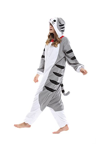 [Qute] Tabby Cat Kigurumi Pajamas- Unisex Halloween Christmas Party Costume Character Pyjamas (XL 175cm ~ 185cm (5'74