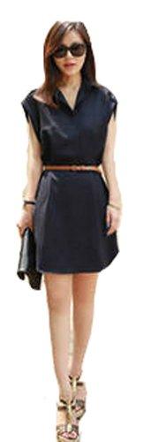 Demarkt Elegant Robe en Voile avec Ceinture/Manches Courte/ Couleur Bleu Noir/ Taille S/M/L/XL/XXL
