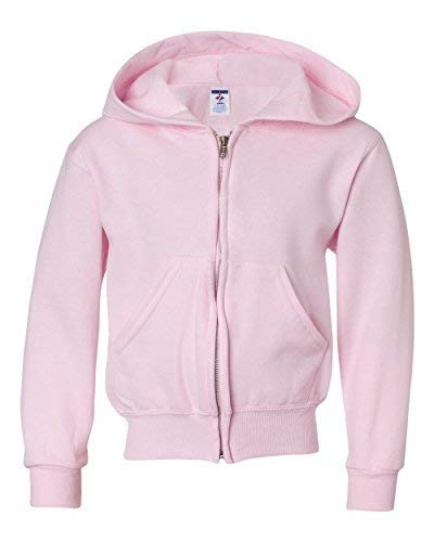 Jerzees Nublend Youth Full-Zip Hooded Sweatshirt (Classic Pink) (L)