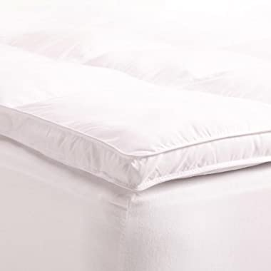 Superior Queen Mattress Topper, Hypoallergenic Goose Down Alternative Featherbed Mattress Pad - Plush, Overfilled, and 2  Thick