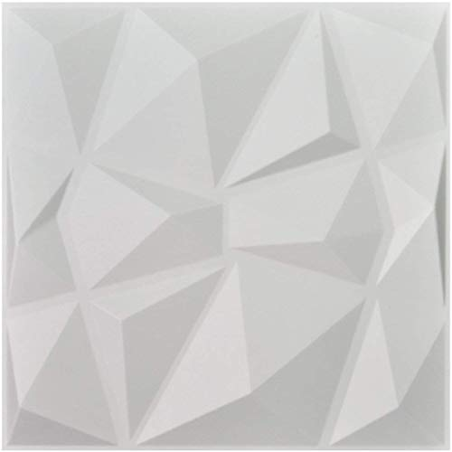 Decorative Panel - Art3d Decorative 3D Wall Panels Diamond Design Pack of 12 Tiles 32 Sq Ft (Plant Fiber)