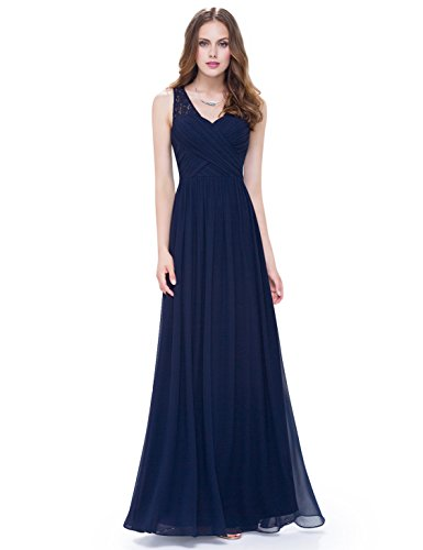 Ever-Pretty Womens Sleeveless Empire Waist Ruched V-Neck Bridesmaid Dress 12 US Navy Blue