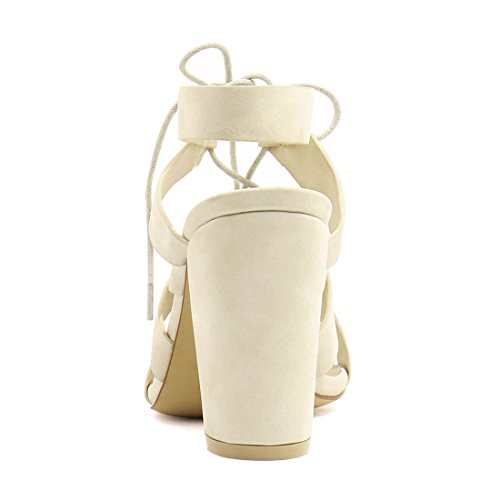 Allegra K Damen Kolbig High Heels Ausschnitt-detail Schnürer Sandalen - Damen, Beige, 4 UK