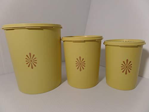 Tupperware Harvest Gold Servalier Canisters Lot of 6 Lids Nesting Storage Starburst Vintage -  Tupperware 6, 805-7 809-3 811-5
