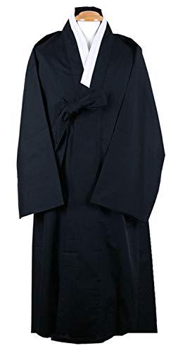 Men Outer Coat Korean Traditional Clothes Durumagi Robe Halloween Costume (L, Black) ()