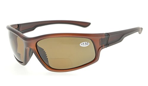 Eyekepper Sports Bifocal Reading Glasses Polycarbonate Polarized Sunglasses TR90 Unbreakable Baseball Running Fishing Driving Golf Softball Hiking (Brown Frame/Brown - With Sunglasses Fishing Bifocals