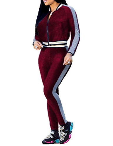 HannahZone Women's 2 Pieces Outfits Long Sleeve Zipper Jacket and Pants Set Tracksuits for $<!--$28.88-->