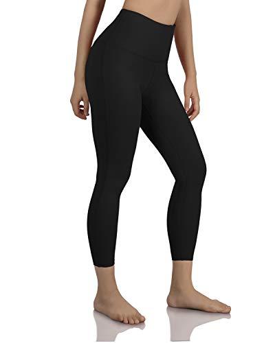 ODODOS Women's High Waisted Tummy Control Yoga Pants, 7/8 Length Leggings with Inner Pockets,Black,Medium