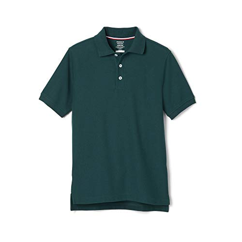 French Toast Boys' Big Short Sleeve Pique Polo Shirt (Standard & Husky), Hunter Green, M (8)
