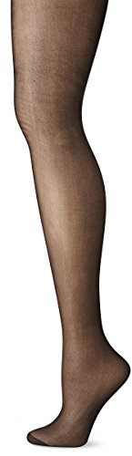 No Nonsense Women's Regular Pantyhose with Reinforced Panty and Toe, Midnight Black, D, Plus 2 -