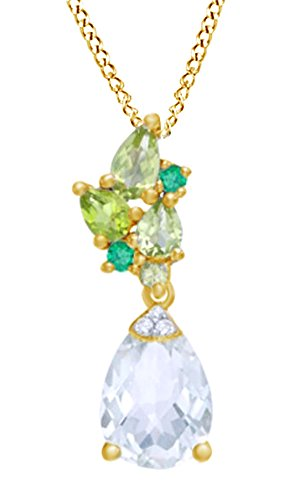 Jewel Zone US Simulated Multi Gemstone & Yellow Sapphire Drop Pendant in 14K Yellow Gold Sterling Silver ()