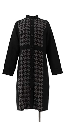 Isaac Mizrahi Fully Lined Houndstooth Pattern Coat Black Grey 10 New A239012