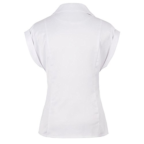 ZAFUL Mujer Blua Camisetas sin Manga V Cuello Camisas BLouses T ShirtTapa Playa Sólido Color S-2XL Blanco