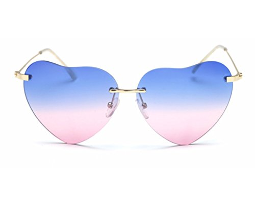 Heartisan Super Cute Heart Shaped Rimless Bicolor Lens Sunglasses - Cents 99 Sunglasses