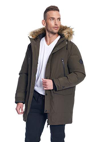 - Alpine North Mens Vegan Down Drawstring Winter Jacket, Olive, 2XL