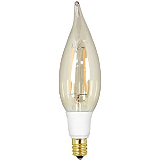GE Lighting 66086 LED Vintage Chandelier Light Bulb with Candelabra Base, 3-Watt, Soft White, 1-Pack, Clear Glass