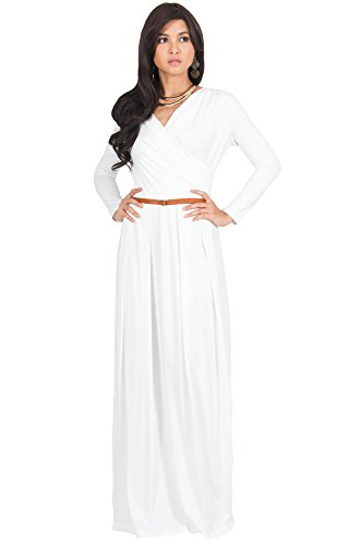 KOH KOH Womens Long V-Neck Sleeve Sleeves Fall Formal Flowy Floor Length Evening Casual Day Modest Abaya Muslim Gown Gowns Maxi Dress Dresses, White M 8-10