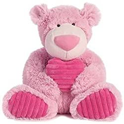 """Pink Soft Teddy Bear with Pink Heart 12"""" Plush Valentine's Day Gift"""