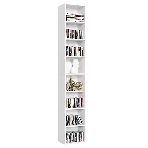 Homfa Libreria Estanteria de Pared 8 Cubos Estantes Ajustables Estanteria Alta del Suelo para Libros CDs 180cm*29.5 * 23.5 (Blanco)