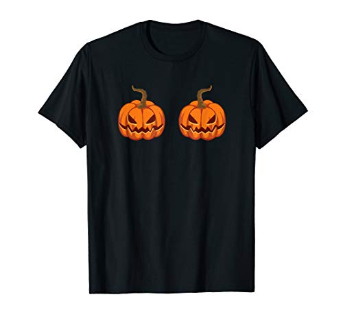 Jack O Lantern Bra Pumpkin Boobs Costume T-Shirt]()