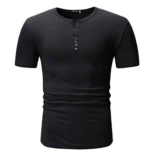 (FONMA Men Summer T-Shirt Fashion Short Sleeve Cotton Solid Tee Casual Top Blouse Black)